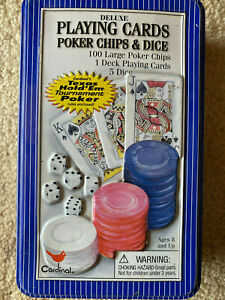 Deluxe Cardinal Poker Playing Cards & Chips Texas #458 Blue Tin 2004 Complete