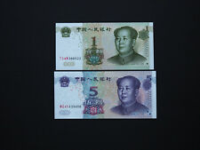 China Banknotes Quality Set of Two  1 and 5  Yuan   -   Good artwork   MINT UNC