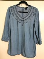 INTRO Women's Size Medium Peasant Top Blouse Embroidered Blue Denim Chambray