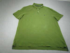 Nautica Polo Shirt Adult Extra Large Green Black Sailing Rugby Casual Mens A9 *