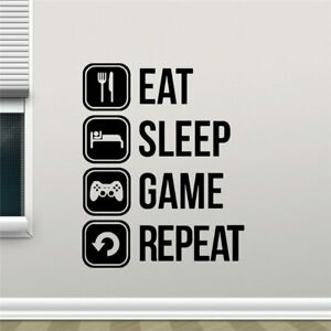 Eat Sleep Game Repeat Decal Gaming Vinyl Sticker Joystick Gamepad Gamer Wall Art