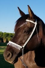 Hand Braided Arabian Style Show Halter, Horse Tack,  WHITE w/SILVER ---NEW!
