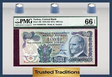TT PK 190 1970 TURKEY 500 LIRA PMG 66 EPQ GEM POP THREE NONE FINER!