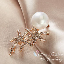 18K Rose Gold GP Exquisite Starfish Made With Swarovski Simulated Pearl Brooch