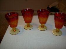 "4 Duncan & Miller Colony Sandwich Amberina Sunset Goblets 5 7/8"""