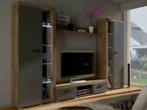 Entertainment TV Unit - White - Dark Oak - GREY  - Tv Stand Living room set