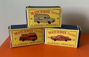 LOT OF 3 VINTAGE LESNEY BOXES - MATCHBOX - BOXES ONLY