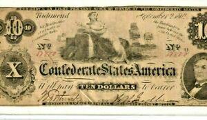 """$10 """"CONFEDERATE"""" 1800'S $10 (RARE) """"CONFEDERATE"""" 1800'S $10 (RARE) NICE NOTE!!!"""
