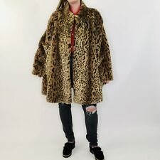 Vintage 80s Mod Cheetah Leopard Faux Fur Swing Coat L-3X Womens Lined Penny Lane