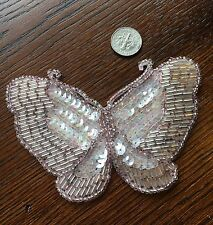 A1 Vintage Butterfly Sequin Appliqué Sewing Projects Costume Design Beads Pink