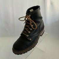 Skechers Mens Cascades Utility Ankle Boots Black Leather Logger Lace Up Size 8.5