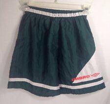 Vintage Umbro Soccer Shorts Medium Green White Orange USA Made - No DrawString