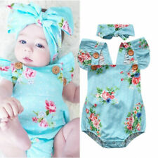 US Newborn Baby Girls Romper Floral Bodysuit Jumpsuit Summer Clothes Outfits
