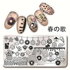 Nagel Stamping Schablone Rectangle Nail Stempel Plate Donut Harunouta L024