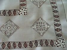 "Antique Linen Tablecloth 29"" Topper Hand Made Reticella Needle Lace C P Monogram"