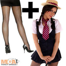 Sexy School Girl Costume + Tights St Trinians Fancy Dress Uniform Costume + Hat