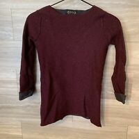 Nanette Lepore Merino Wool Long Sleeve Sweater XS  Burgundy And Gray