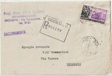 ITALIA 1956 60L FAO ISOLATO SU RACCOMANDATA PER GROSSETO