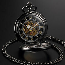 Copper Pocket Watch Gift Chain Antique Mens Steampunk Mechanical Skeleton