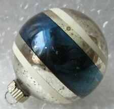 "Vintage Glass Christmas Ornament 3"" Teal Blue & White Stripe Shiny Brite"