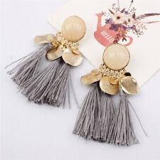 Gray Women Tassel Earrings Dangle Alloy Resin Bohemian Fashion Pendant HIGH