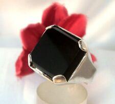 Siegelring mit schwarzem Stein 925 Silber Fingerring / cg 039