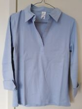 Sky Light Blue 3/4 Sleeve 95%Cotton 5% Spandex Rib Collar Top with Cuff Size S