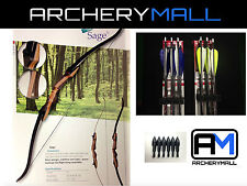 "SAMICK Sage recurve bow 62""choose RH/LH 20,25,30,35,40,45,50lb(6 feather arrows)"