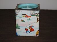 VINTAGE CHRISTMAS SNOW WALEECO WASHBURN CANDY CORP BROCKTON MASS TIN BANK