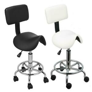 Adjustable Hydraulic Swivel Saddle Stool Backrest Tattoo Massage SPA Salon Chair