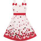 Sunny Fashion Girls Dress Cartoon Polka Dot Bow Tie Strawberry Sundress Size 2-8