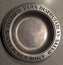 RWP Wilton Columbia Pewter Plate Amor Y Pesetas Y Tempo Para Disfrutarlas
