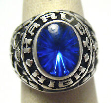 STERLING SILVER HARVEY HIGH SCHOOL RING BLUE STONE NO DATE SIZE 4.25 SYBOLL