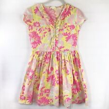 Lands End Kids Girls Floral Dress - Pink Yellow Short Sleeve, Youth Size 12