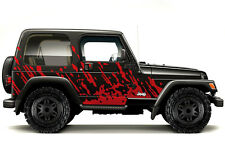 Custom Vinyl Graphics Decal Wrap Kit fits 99-06 Jeep Wrangler Rubicon BURST RED