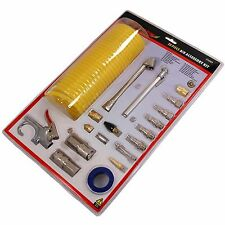20pc Air Tool Connection Accessories Kit Blow Gun Coil Hose Tyre Inflator Gauge