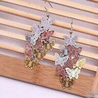 Unique Women Butterfly Dangle Chandelier Drop Earrings Ear Hook Party Jewelry