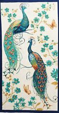 Quilting fabric panel, peacock bird, blue green, oriental Japanese Chinese asian
