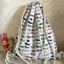 Cotton Linen Drawstring Backpack Student Book Shoes Bag Cat Fish Bone B132 F