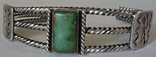 VINTAGE NAVAJO INDIAN TWISTED SILVER RECTANGLE GREEN TURQUOISE CUFF BRACELET