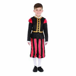 Boys William Shakespeare Costume Tudor Medieval Book Day Fancy Dress Outfit