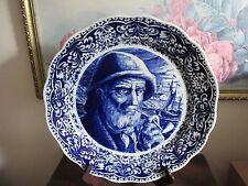 Antique Blue Delft Boch Frère La Louviere Belgium Charger Plate Old Man Pipe