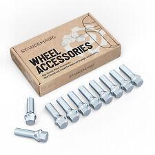 10pc Chrome Lug Bolts 12x1.5 30mm Shank Cone Seat Tuner BMW E36 E46 E90 E92 E60