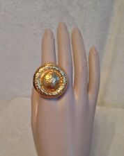 NEW DEVON LEIGH Round Gold Tone Dome Statement Ring, Size 7.5