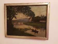19th Century Original Oil Painting On Canvas' Man In A Boat '