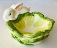 Candy Nuts Dip Bowl with Rabbit & Cabbage Easter Bunny Spring Decor