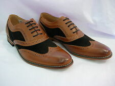 M968B TWO TONE TAN MENS Leather Lined Lace Up Brogue Shoe Size 6 7 8 9 10 11 12