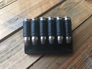 Vintage Tex Shoemaker 156 Black Leather Cartridge Slide .38 Belt Ammo Holder