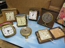 7 Vintage Travel Alarm Clocks, Car Clock, Phinney-Walker, Waltham, Europa