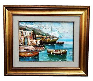 Dipinto Olio su tela cm 30x40 raffigurante Scorcio di mare, completa di Cornice
